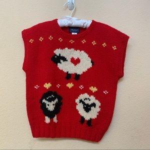 Woolrich Vintage Red 100% Wool Sheep Sweater Vest